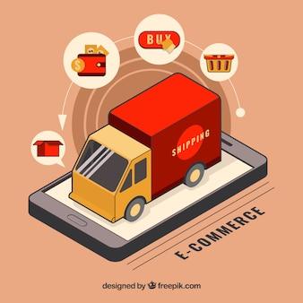 Camion de livraison sur l'écran du téléphone