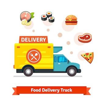 Camion De Livraison De Nourriture Pour Le Restaurant Avec Des Icônes De Repas Vecteur gratuit