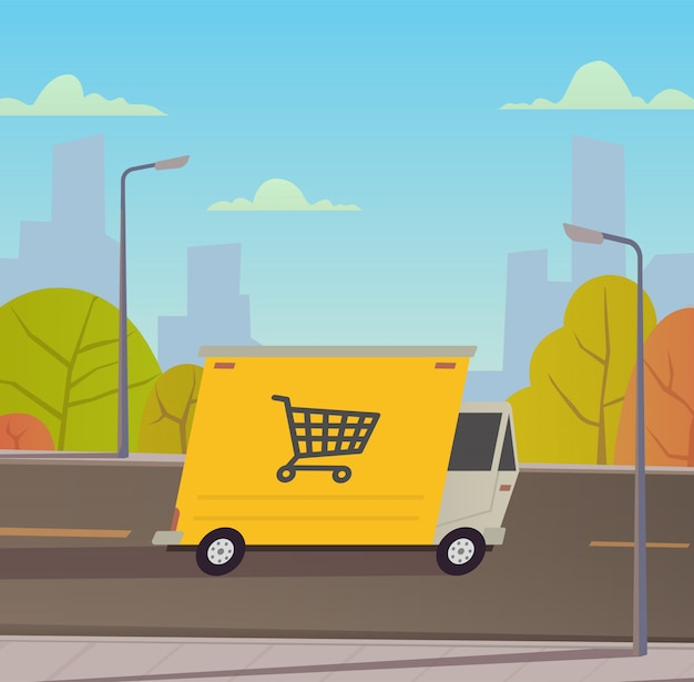 Camion de livraison avec paysage de la ville.