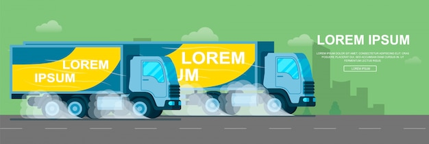 Camion de livraison rapide conduisant rapidement la route