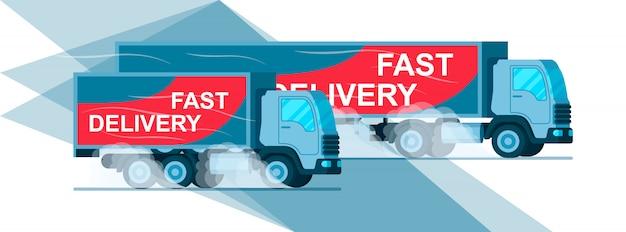 Camion de livraison rapide two grey warehouse
