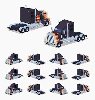 Camion lourd isométrique 3d noir lowpoly