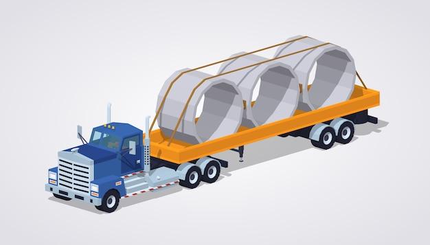 Camion lourd isométrique bleu 3d lowpoly et remorque avec anneaux en béton dessus