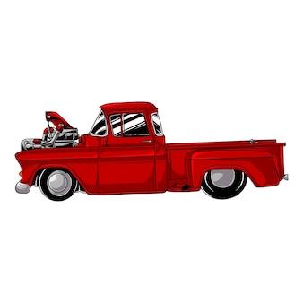Camion lowrider vintage dessiné à la main