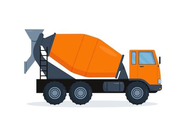 Camion malaxeur à béton. machine de l'industrie lourde. matériel de construction isolé sur fond blanc.