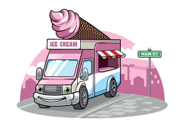 Camion de nourriture de crème glacée de dessin animé