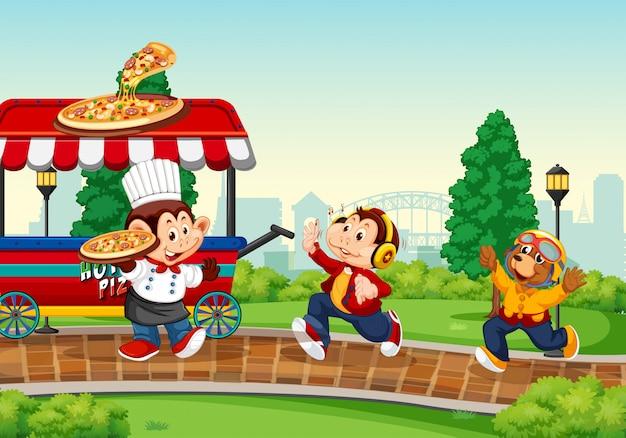 Camion de nourriture dans le parc