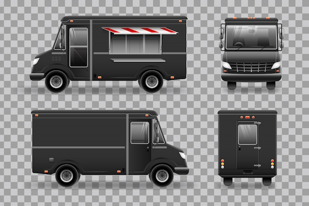 Camion de nourriture noire.