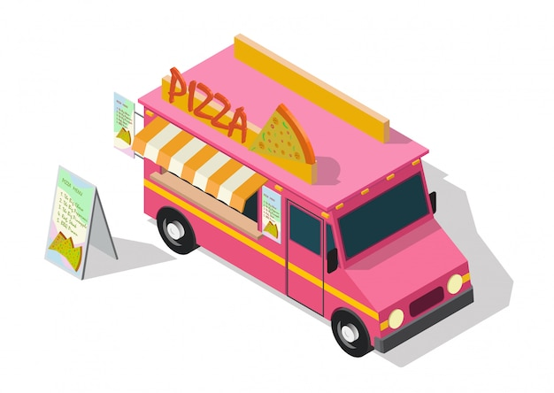 Camion de nourriture pizza isométrique de vecteur.