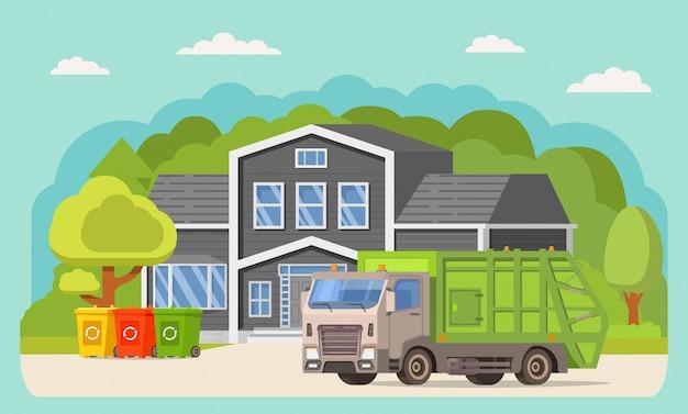 Camion à ordures devant une maison