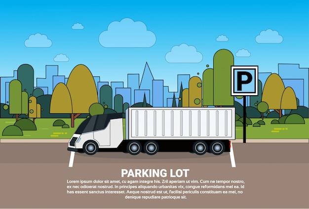 Camion, parking, silhouette, ville, fond