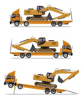 Camion à plate-forme avec charge d'excavatrice