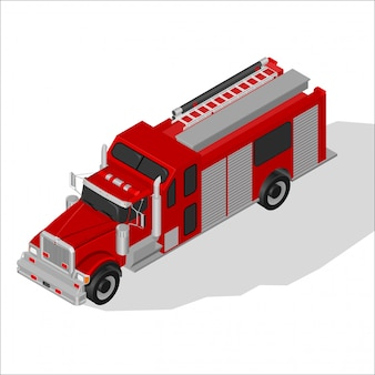Camion de pompier isométrique.