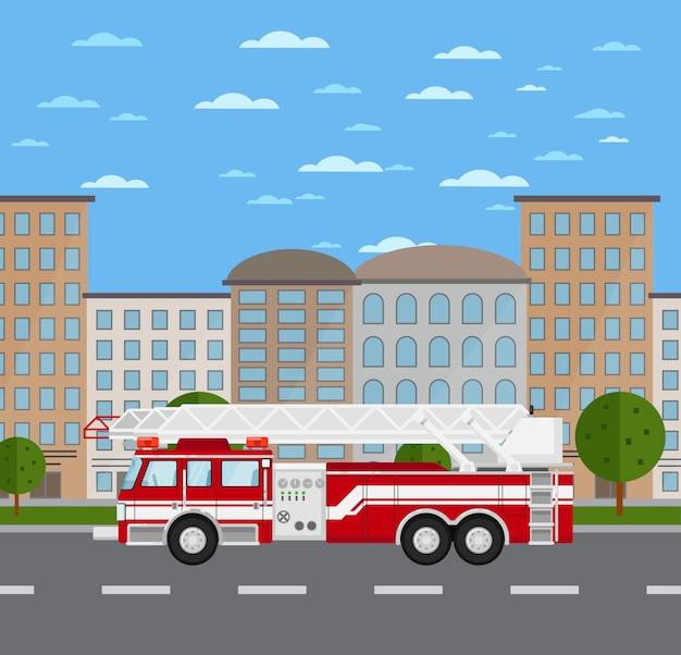 Camion de pompiers sur route en paysage urbain