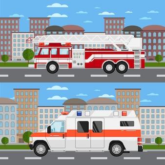 Camion de pompiers et voiture ambulance en paysage urbain