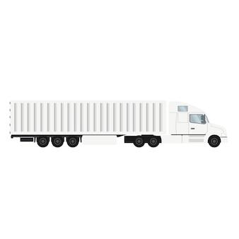 Camion porte-conteneur pour exportation avec entrepôt frigorifique.