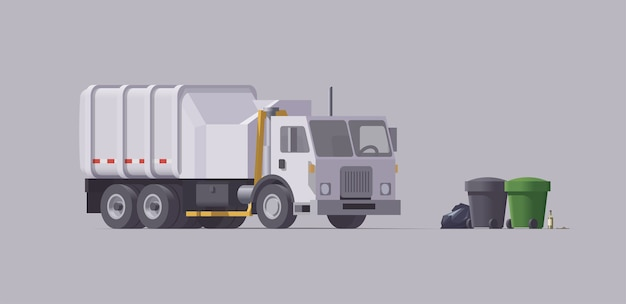 Camion poubelle blanc. chariot latéral. chargement des ordures. illustration isolée. collection