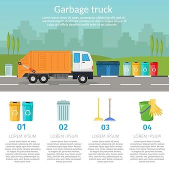 Camion poubelle, tri, bacs, de, recyclage, concept, bateau, les, poubelle, écologie, et, ville