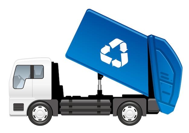 Camion poubelle de vecteur isolé sur un blanc