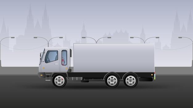 Camion pour livraison rapide. composition réaliste dans les tons blancs et gris. contexte de la ville. illustration vectorielle.