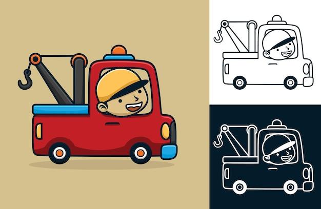 Camion de remorquage avec chauffeur heureux. illustration de dessin animé de vecteur dans le style d'icône plate