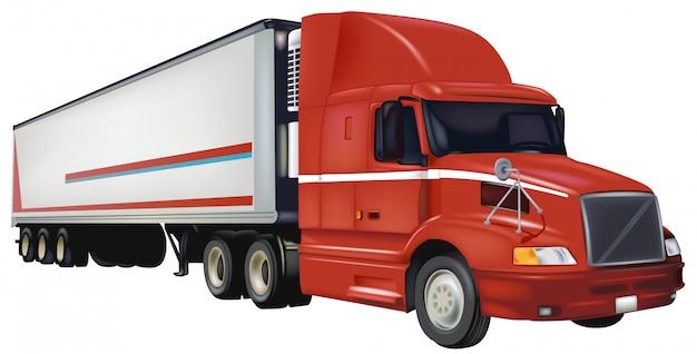 Camion remorque rouge
