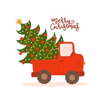 Camion rouge vintage avec carte de voeux de noël arbre de noël avec texte de lettrage joyeux noël rouge pi...