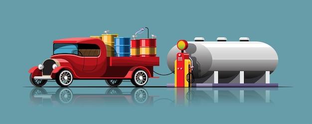 Camion de style rétro avec réservoir d'huile déchargement d'huile d'un grand réservoir
