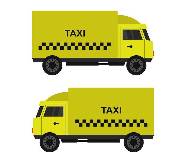 Camion de taxi sur blanc