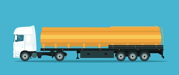Camion transporteur de citerne isolé. illustration vectorielle.