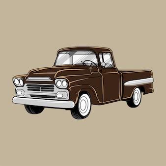 Camion vintage dessiné à la main