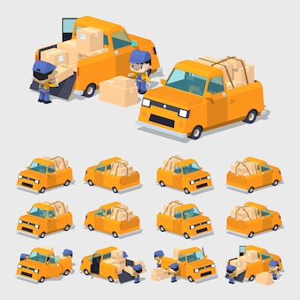 Camionnette 3d orange lowpoly