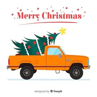 Camionnette avec arbre de noël