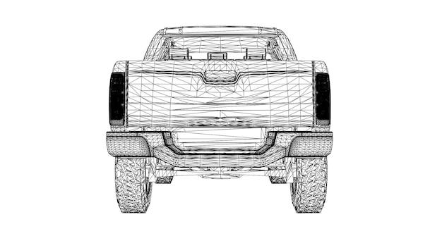 Camionnette sur fond blanc avec des lignes reliées à des points