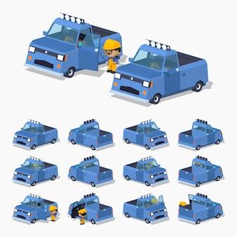 Camionnette isométrique bleue 3d lowpoly