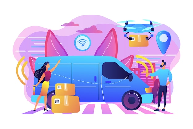 Camionnette de livraison autonome avec capteurs et drone livrant les colis. courrier autonome, service de livraison sans chauffeur, concept de services de colis moderne. illustration isolée violette vibrante lumineuse