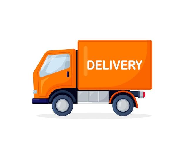 Camionnette de livraison jaune isolé sur fond blanc. transport d'expédition de marchandises de produit. camion de service rapide