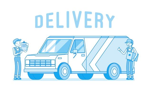 Camionnette de livraison et ouvriers