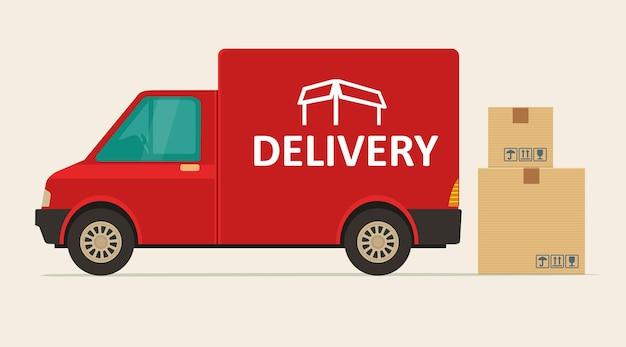 Camionnette de livraison rouge avec ombre et boîtes en carton avec panneaux fragiles. transport d'expédition de marchandises de produit. illustration vectorielle plane pour le web, icône, bannière, graphique d'informations.