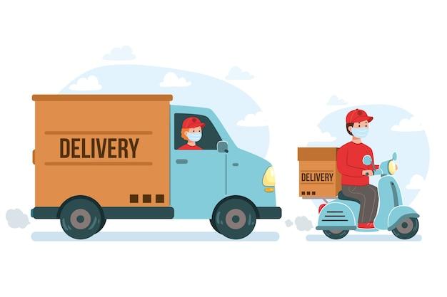 Camionnette de livraison et scooter