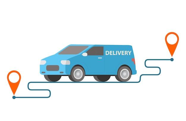 Camionnette de livraison transportant des colis sur des points