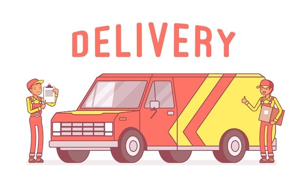 Camionnette de livraison et travailleurs