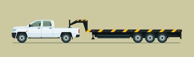 Camionnette de remorquage avec remorque