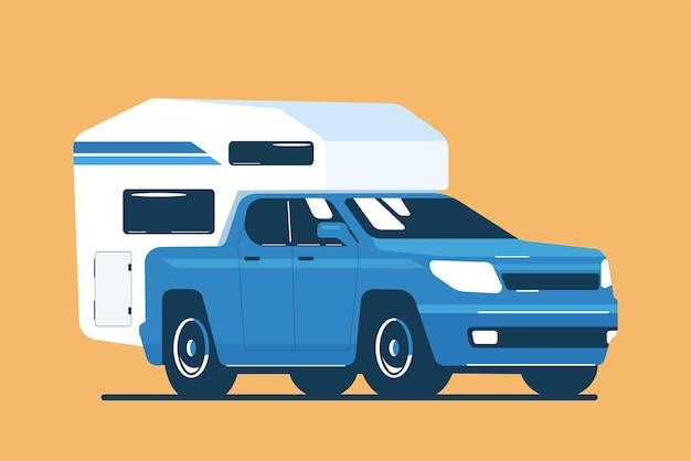 Camionnette avec une remorque de tourisme montée à l'arrière isolée. illustration vectorielle.