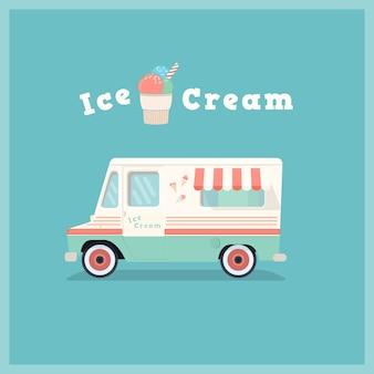 Camionnette rétro de crème glacée.