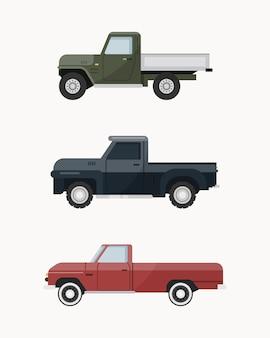 Camionnette Vintage. Ensemble De Camionnette. Vecteur Premium