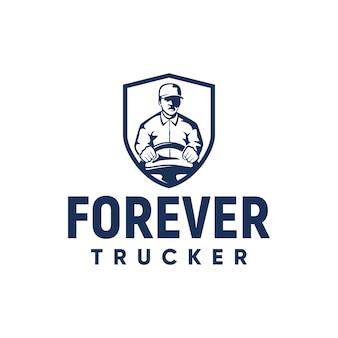 Camionneur logo inspiration bouclier chapeau volant vecteur livraison