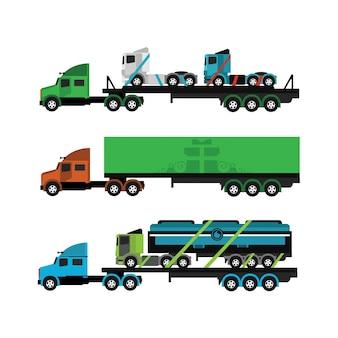 Camions de couleur fixés
