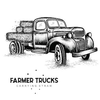 Camions fermiers transportant de la paille