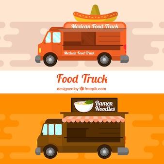 Camions de nourriture avec des aliments mexicains et asiatiques
